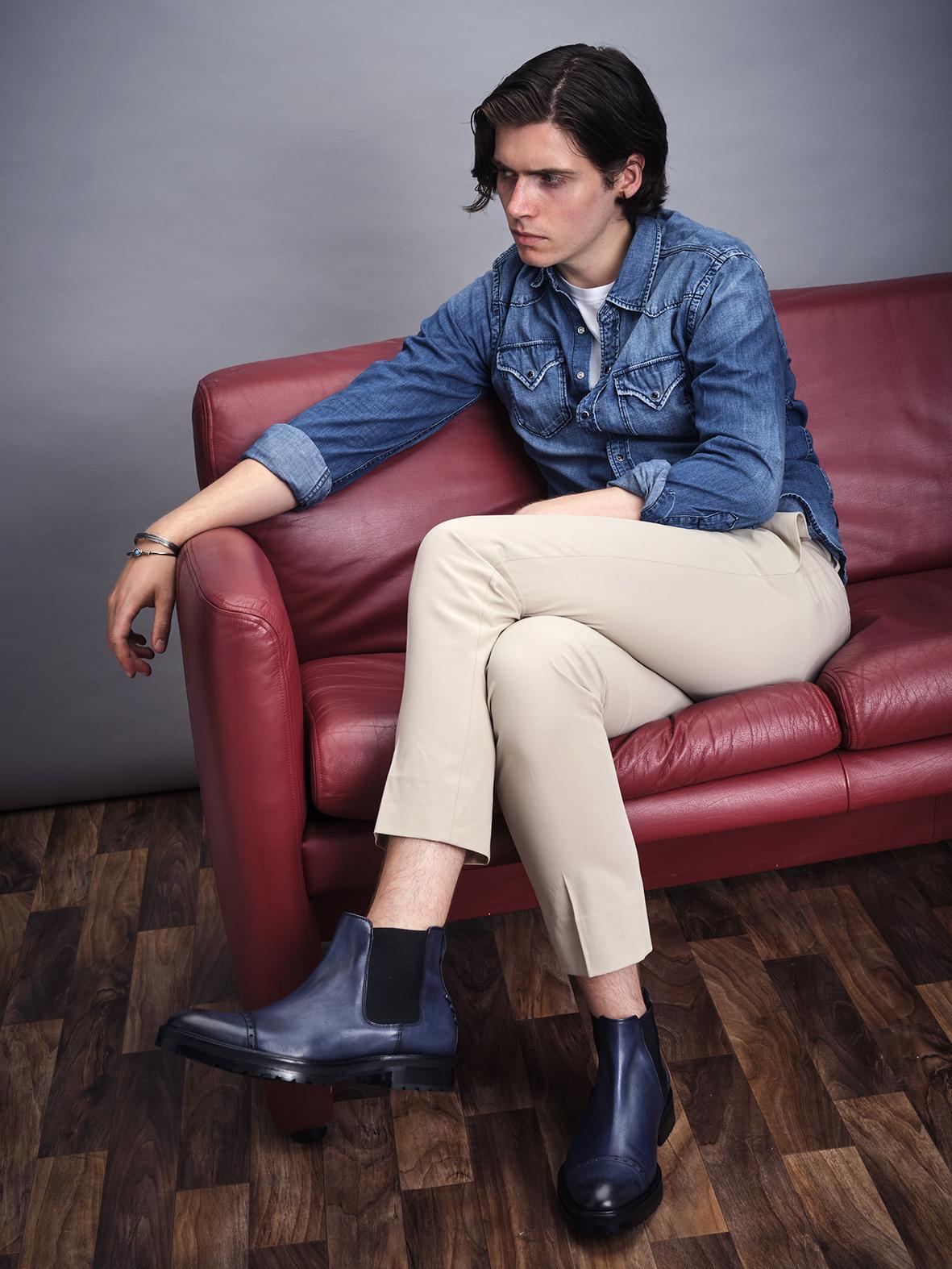 Vivvant London blue patina Chelsea boots